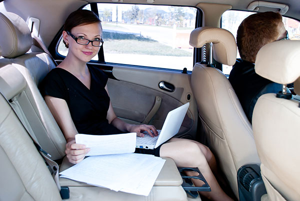 Business Woman In Private Car